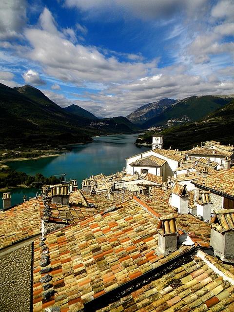 Villetta Barrea  on lake Barrea, L'Aquila, Abruzzo