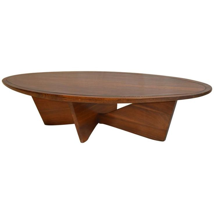Rare Oval Coffee Table Bow Tie Base George Nakashima Widdicomb, 1961 | From a unique collection of antique and modern coffee and cocktail tables at https://www.1stdibs.com/furniture/tables/coffee-tables-cocktail-tables/