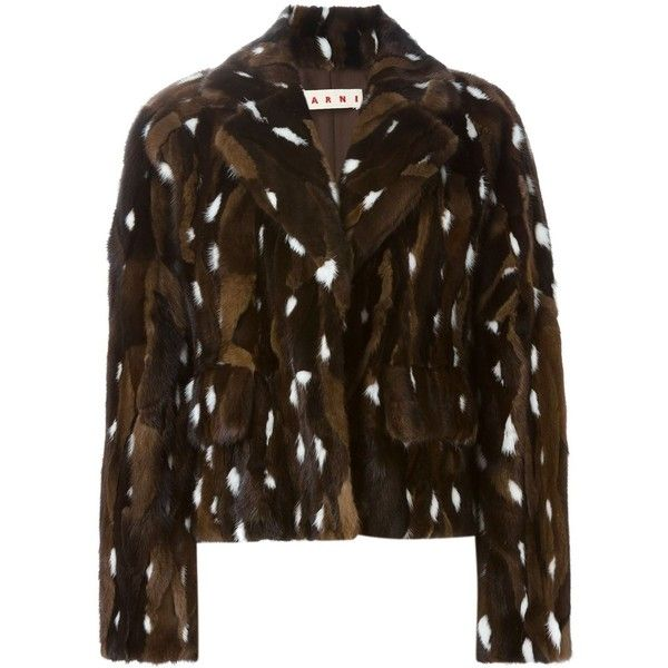 Marni cropped jacket ($4,130) ❤ liked on Polyvore featuring outerwear, jackets, brown, long sleeve crop jacket, marni jacket, long sleeve jacket, brown jacket and cropped jacket