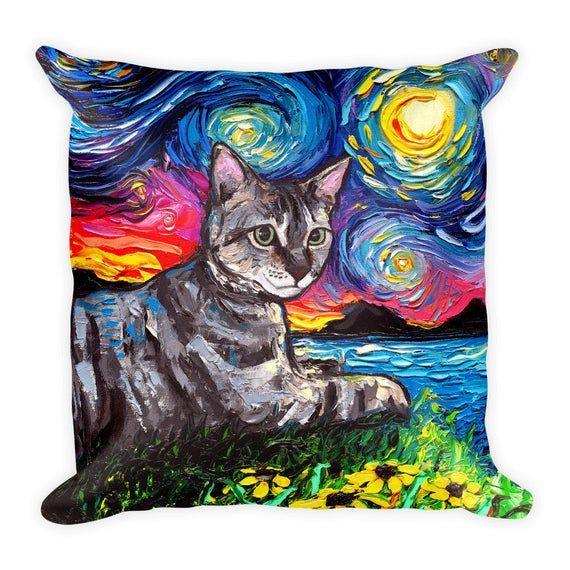 Gray Tabby Cat Starry Night Wall Art Print Van Gogh Poster Decor by Aja