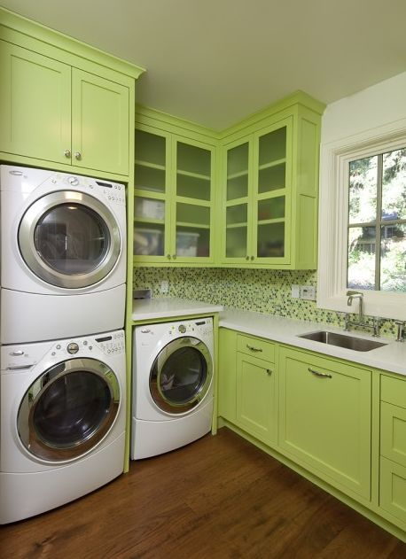 Happy and colorful laundry rooms