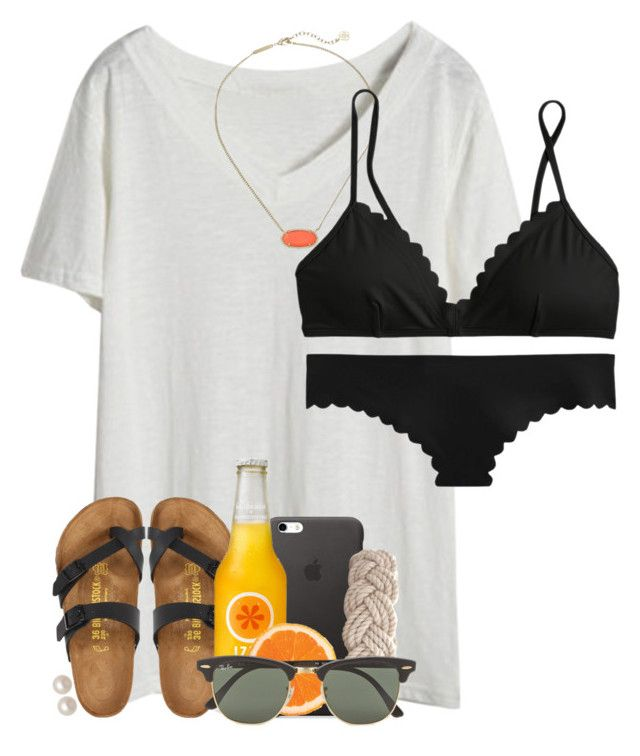 """""""i was so ready to wear stuff like this and then it became cold again"""" by ellapearlrose ❤ liked on Polyvore featuring Kendra Scott, J.Crew, Birkenstock, Swell, Ray-Ban and Honora"""