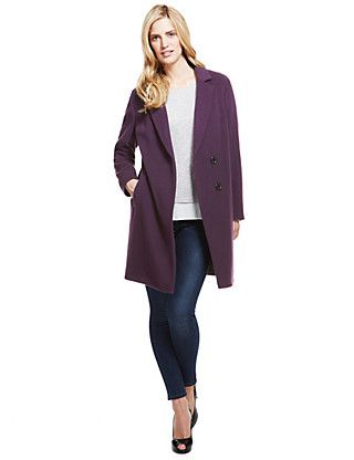 Buttonsafe™ Wool Blend Double Breasted Coat with Cashmere | M&S