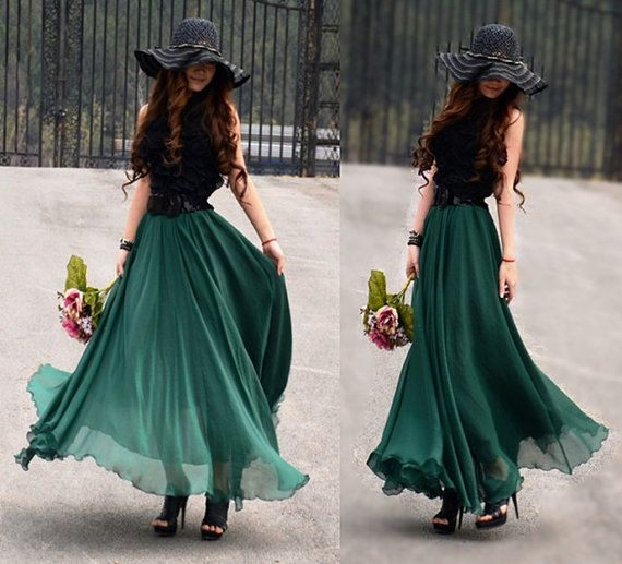 women's Jade green silk Chiffon 8 meters of skirt by colorfulday01, $35.99