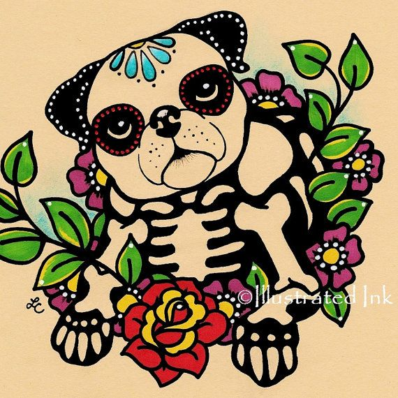 He creado este dulce, día de la impresión de Pug muerto, específicamente para el altar de un perro querido o para aquellos que aman a Dia de los Muertos. Para ayudar a perritos necesitados, 10% de cada venta de esta impresión, se donarán a mi refugio favorito local «no matar» (http://www.austinpetsalive.org).  Usted puede comprar esta impresión sin palabras, o usted puede elegir lo que quieres decir. Los cuadros en el listado son muestras, puedo imprimir todo lo que desea en las fuentes…