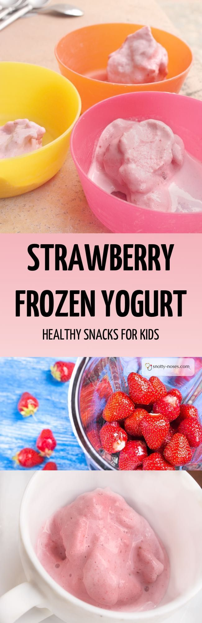Who said that strawberry frozen yogurt was unhealthy? This is a really easy and really healthy recipe for frozen yogurt that your kids and friends will love. Just 2 ingredients, no added sugar and ready in minutes. I'm happy for my kids to eat this every