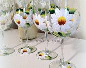 Floral Wine Glasses - Daisy flowers - Bridal shower gift - Wedding gift - bridal shower favors  -  hand painted wine glasses - set of 4
