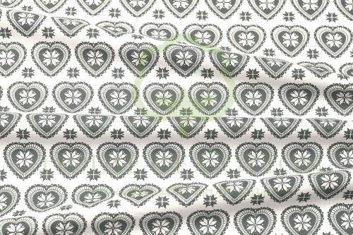 Bawełna serca skandynawskie biało-szare / White & gray X-mas scandinavian hearts snowflakes cotton fabric