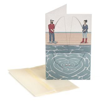 FISHING COUPLE Design: Victor Cavazzoni  Designed and printed in Italy on Remake paper by Favini, a unique and innovative type of paper that contains 25% leather residues to replace the same amount of wood tree pulp.  Size 11.5x17.5 cm  The envelope is made of a natural translucent paper by Fedrigoni, FSC certified  Size 12x18 cm
