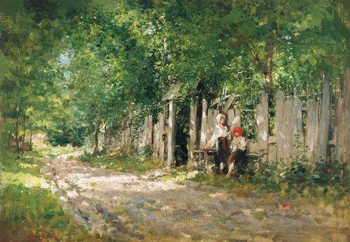 Nicolae Jon Grigorescu-À la clôture de jardin (la Roumanie)