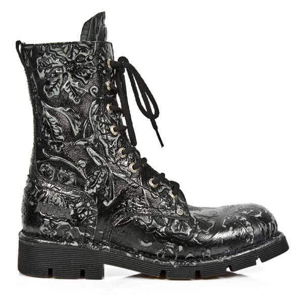 Black New Rock Boots in with Lacing from the New Rock Comfort-Light  Collection.