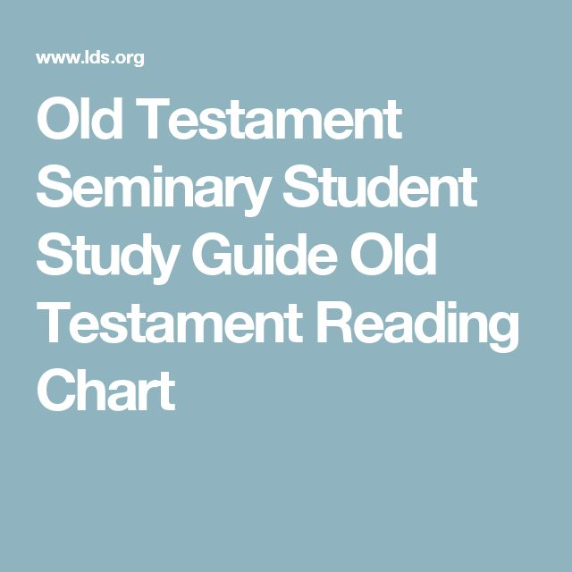 Old Testament Seminary Student Study Guide Old Testament Reading Chart