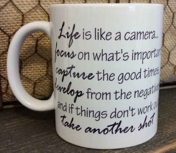 Life is like a camera Sublimation Coffee Mug. Both dishwasher and microwavable safe!  These 11 oz white ceramic mugs have graphics and or text on both sides of the mug. The mugs require a special ink and heat transfer process, making them microwavable and dishwasher safe. They are not stickers, vinyl or sharpie markers.