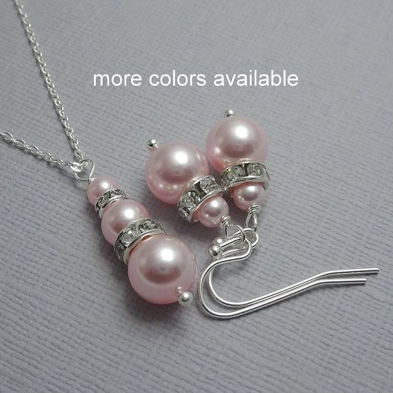 Blush Pink Jewelry, Light Pink Bridesmaid Gift Jewelry Set, Blush Pink WeddingJewelry Set, Maid of Honor Gift, Light Pink Bridal Party Gift