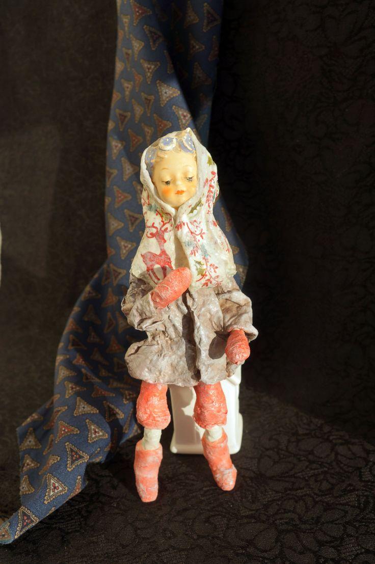 Spun cotton easter - Violet - Spun cotton ornament - Antique Spun cotton - Cotton Batting - Spun Cotton Vintage Style - Girl Hummel - by RussianshawlRustic on Etsy