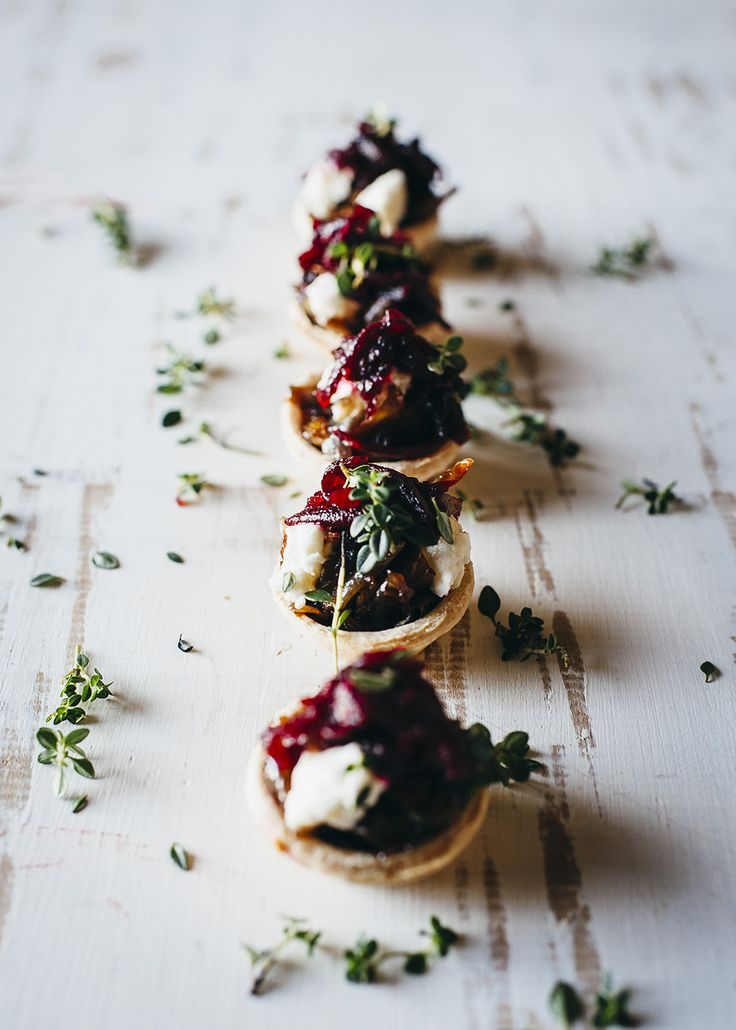 Caramelised onion tarts - quick & delicious ; perfect for easy entertaining.