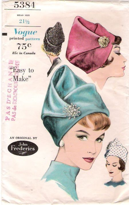 1960s John Frderics hat pattern - Vogue 5384