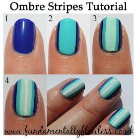 Blue Ombre Stripes Nail Art Tutorial