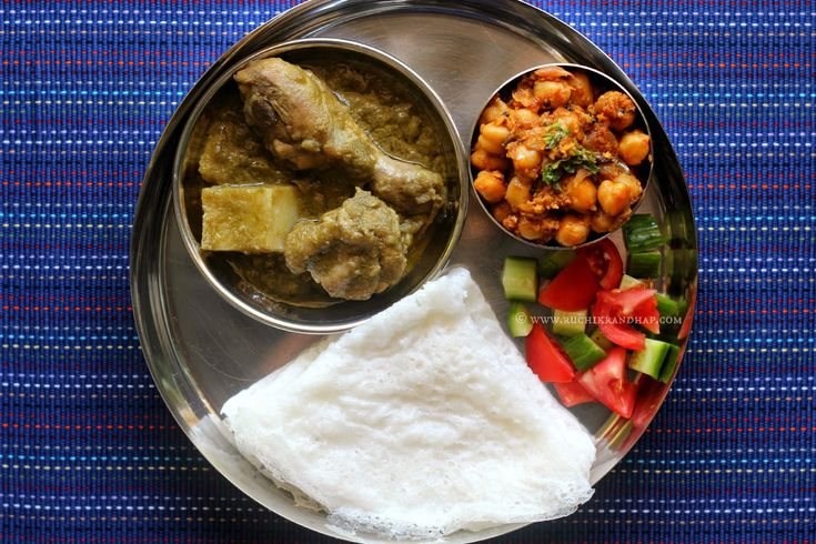 Ruchik Randhap (Delicious Cooking): Mangalorean Plated Meal Series - Boshi# 17 - Chicken Green Curry, Chana Sukka, Salad & Neer Dosa