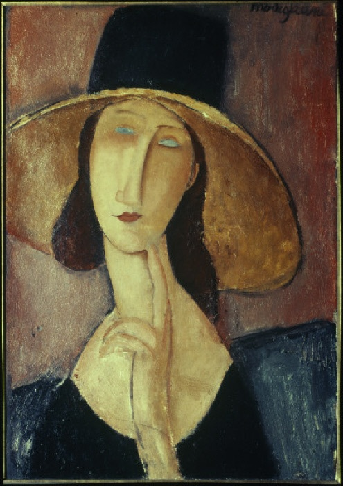 'Femme au grand chapeau' Modigliani, Amedeo; 1884-1920. 'Femme au grand chapeau' (Portrait of a woman with large hat / Jeanne Hébuterne with large hat), 1917. Oil on canvas, 55 x 38cm. Private Collection.