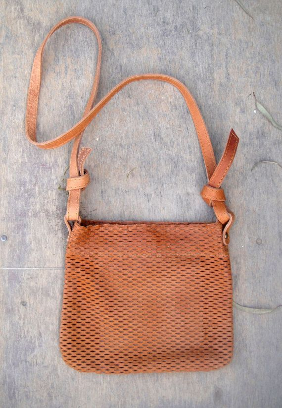 Tabac leather summer shoulder bag by byCACHE on Etsy