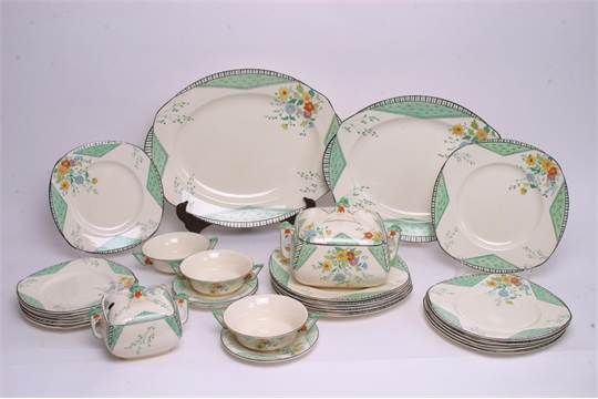 A collection of Art Deco Burleigh 'Maytime' pattern dinnerware, including two tureens and three soup bowls. Staceys Auctioneers Dec 2016. Est GBP80-120. Sold GBP50.