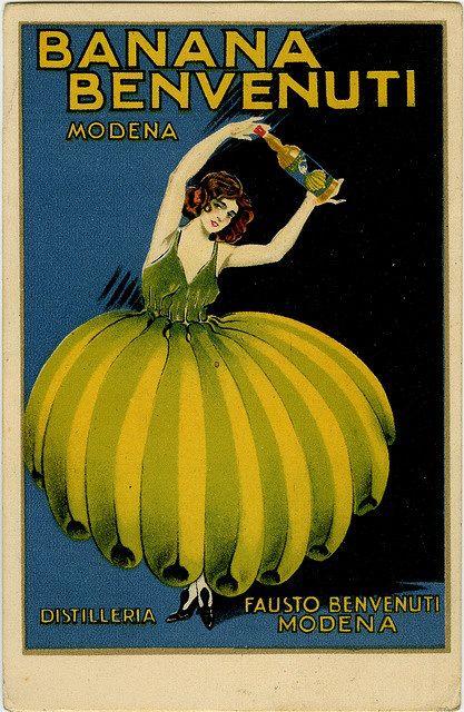 Me & Tinut is yellow banana           #Vintage Banana Poster