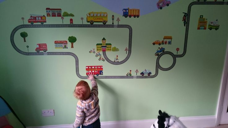 Matthew loves the transport themed wall stickers I used