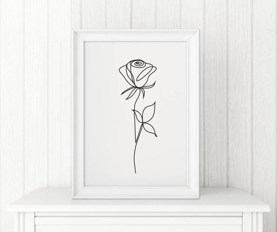 Rose abstract print Line art Wall decor Minimalist art Black and White flower poster Modern art Digital download – Margarita Anrique