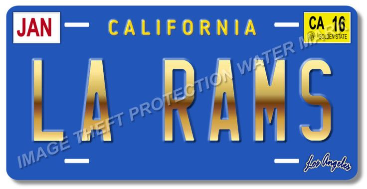 LA RAMS Los Angeles California NFL Football Team Vanity License Plate Tag 11