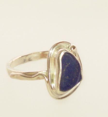 1564 Small Blue Seaglass Ring K/L