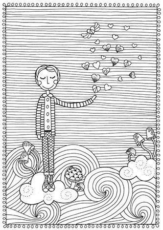 Pri Sathler - Freebie - Desenho para colorir - Coloring book - Namorandinhos - Free colouring pages - Love