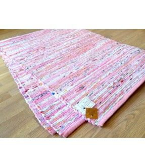 Pink White Chindi Rag Rug HandWoven Recycled Cotton 150cm x 210cm 5x7ft