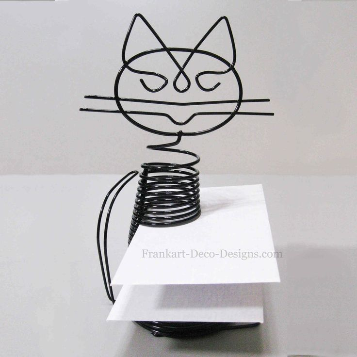 "Sitting Cat large Eames-style desk letter sorter or business card holder. He looks like he's almost smiling :) 7"" tall."