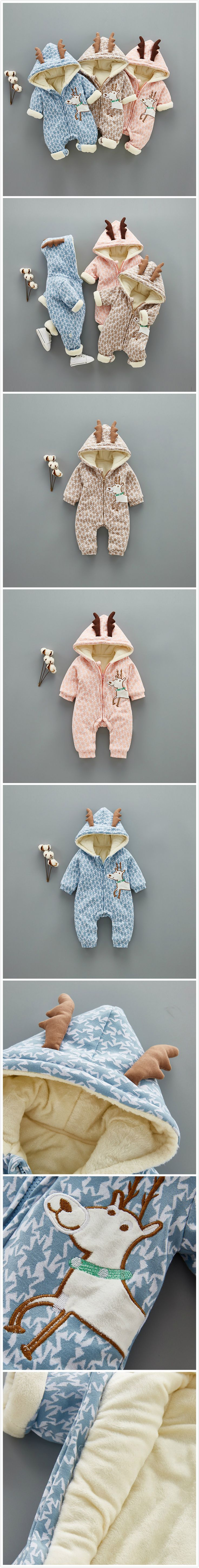 3-Color Thicker 3D Antlers Baby Winter Warm Jumpsuit