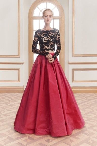 Reem Acra Resort 2016: sheer lace top with full-length red skirt.