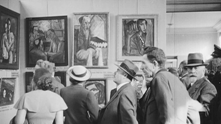 """Silent footage of the """"Degenerate Art"""" exhibition in Munich, taken in 1937 by the American filmmaker Julien Bryan. The excerpt, part of a longer film, is featured in a new show at the Neue Galerie."""