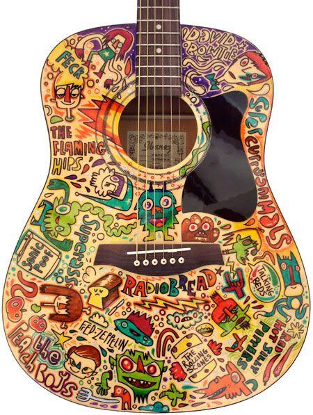 Comic Motif Painted Guitar