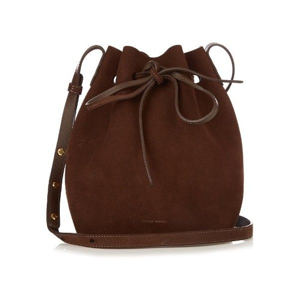 Mansur Gavriel Brown-lined Mini suede bucket bag ($495) ❤ liked on Polyvore featuring bags, handbags, shoulder bags, dark brown, dark brown shoulder bag, bucket bags, brown handbags, brown bucket bag and drawstring bucket bags