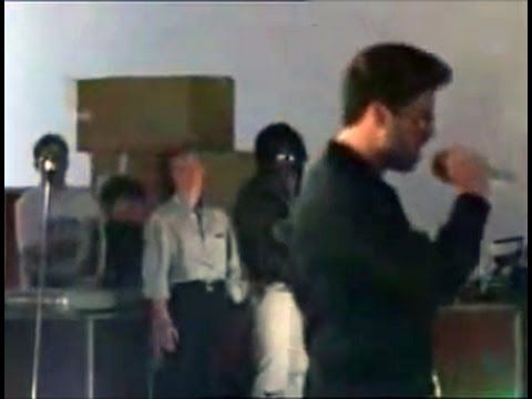 George Michael 'Somebody to Love' rehearsal for Freddy Mercury tribute concert. With Seal and David Bowie in the background.