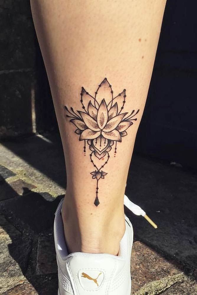 Lotus Flower Tattoo Design auf einem Bein #emplattoo Eine bunte einfache … #diytattooimages   – diy tattoo images