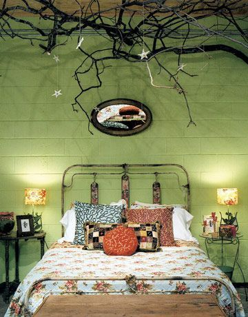 bedroom ideas: Decor, Interior, Dream, Ceiling, Green Wall, Tree Branches, Bedrooms, House, Bedroom Ideas