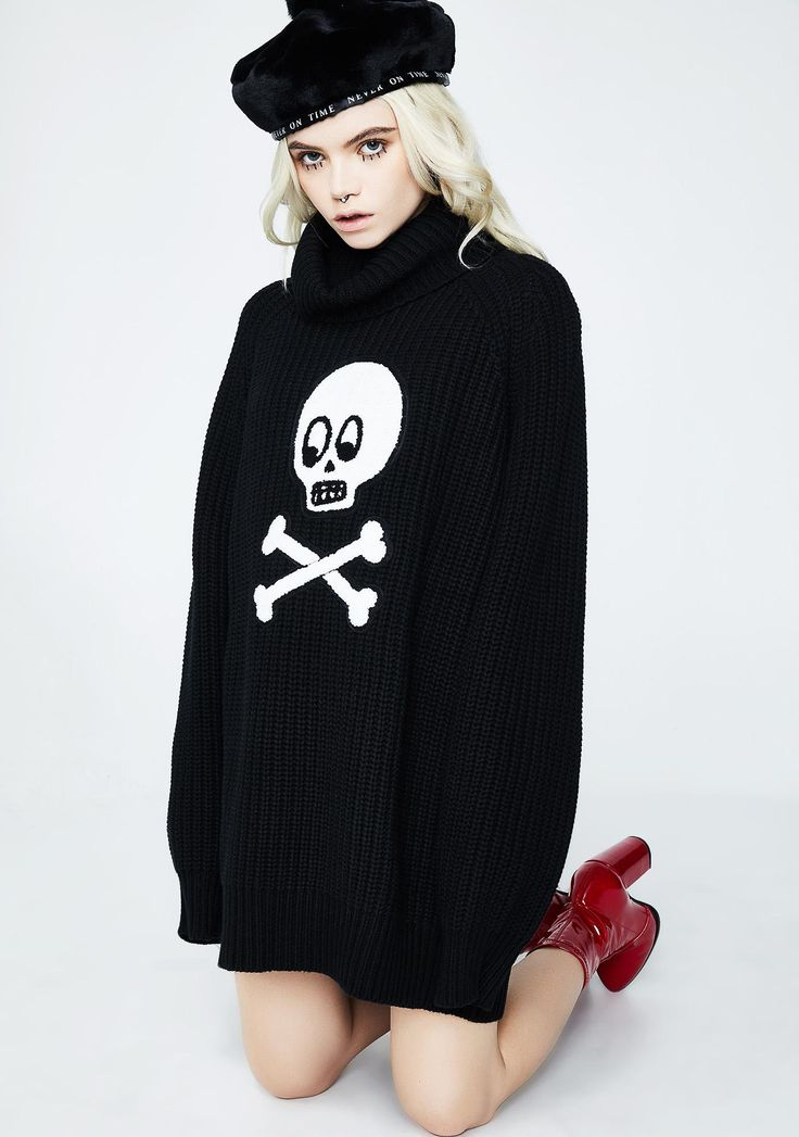 Lazy Oaf Dead Head Knit Jumper cuz u have no more feelingz in ya. Take em' all with this chunky knit oversized sweater has a turtleneck and a large skull patch on the front.
