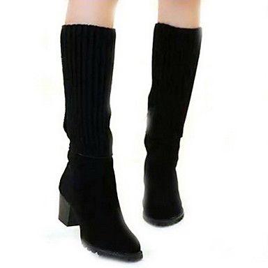botas de plataforma zapatos de punta en punta talón grueso de la mujer a media pierna – USD $ 19.99