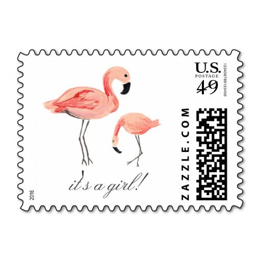 Flamingo Baby Shower Postage Stamp