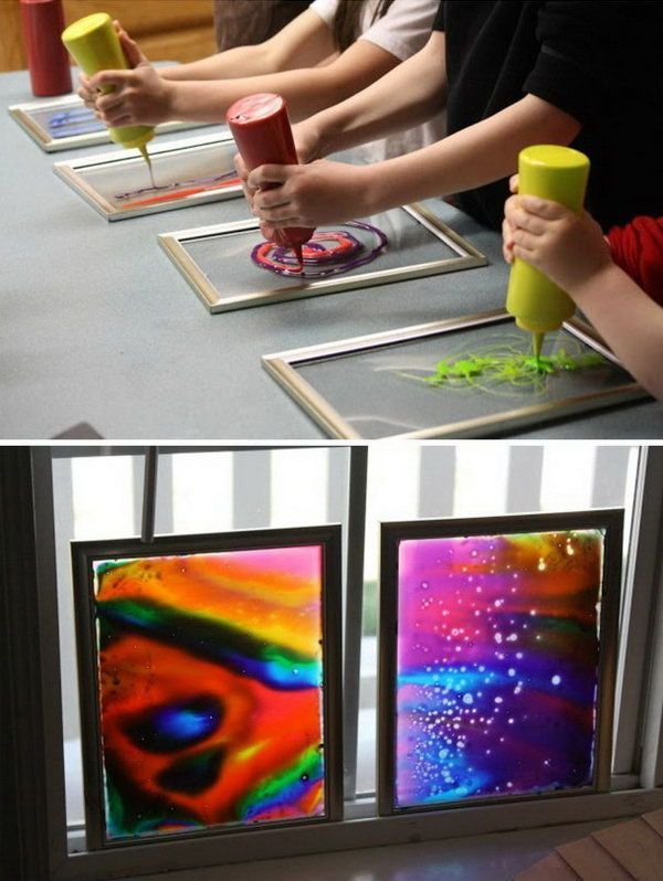 Window Art with Dollar store Frames. Dollar store frames are ideal for making window art with glue and food coloring. This is a project that your kids can help and enjoy making. It is super pretty when the light shining through.