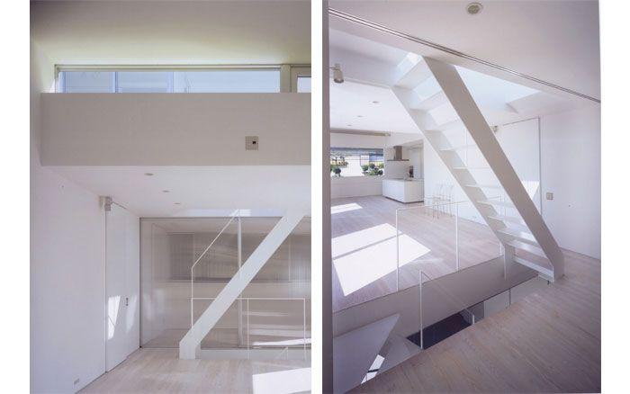 岡町の家 鉄骨3階建の開放的な家 階段