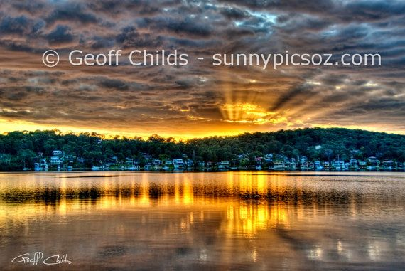 Sunset Seascape Photo over water and through by GeoffsSunsetPics, $7.90