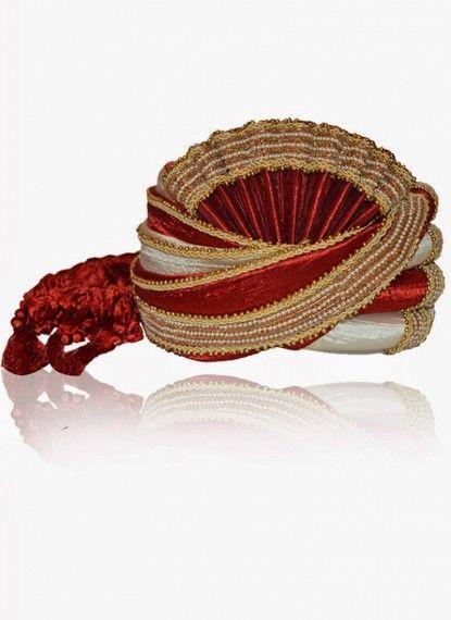 Attractive Offwhite & Red Rawsilk Turban
