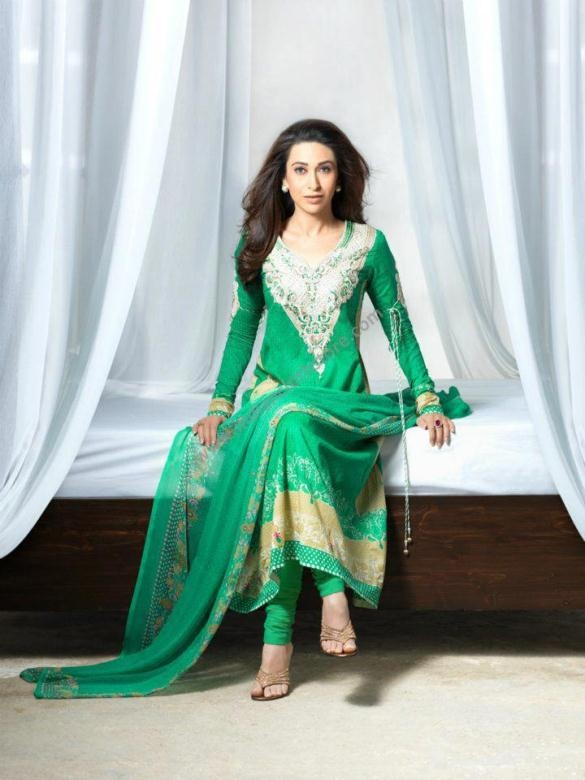 $192.05 Green Long Cotton Lawn Dress / Suits 14830